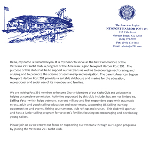 See introduction letter from Richard Reyna, First Commodore of the Veterans 291 Yacht Club